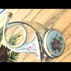 Limoges Trinket Box Floral French Horn